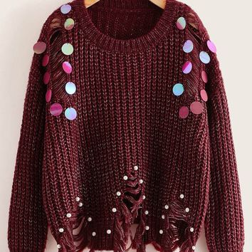 Sequin Detail Pearl Beaded Frayed Sweater