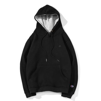 Champion autumn and winter new loose plus velvet couple tide brand long-sleeved hooded sweater Black