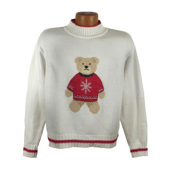 Ugly Christmas Sweater Vintage Tacky Holiday Party Liz Claiborne Bear Women's size L