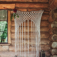Big White Macrame Wall Hanging on a Natural Driftwood - Boho Macrame Wedding Ceremony Altar Arch