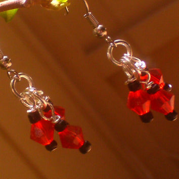 Red Crystal w/ Black Accent Dangle Earrings
