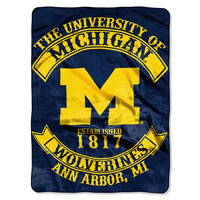 Michigan Wolverines NCAA Royal Plush Raschel Blanket (Rebel Series) (60x80)