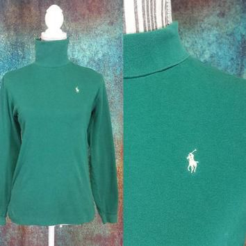 90s Polo Turtleneck Vintage Ralph Lauren Pony Logo Made In USA Long Sleeve Shirt Green