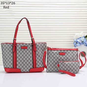 GUCCI 2018 new classic double G printing canvas color matching handbag shoulder bag Messenger bag three-piece Red