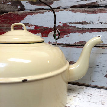 Vintage Commercial Enamel Tea Kettle,Cabin,Camping,Teapot,Enamelware,Enamel Ware,Shabby Chic,Farmhouse,Industrial Kitchen,Vintage Wedding