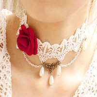 Princess Sweet Lolita necklace Vintage royal bride lace red rose pearl necklace female colnmnaris chain necklace