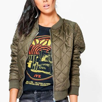 Caitlin Quilted Bomber With Contrast Lining | Boohoo