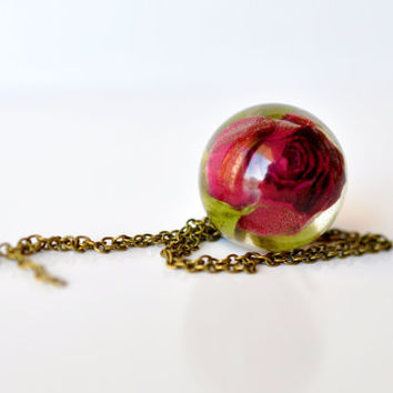 Deep Red Real Rosebud Resin Sphere Pendant Necklace, Pressed Flower Resin Jewelry