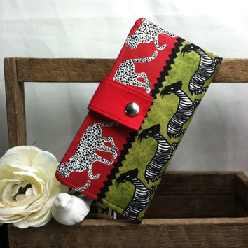 Womens handmade bifold wallet in African print with credit card slots bill slots coin pouch