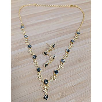 Leafy Flower design one gram gold polished CZ stone choker necklace and earring set