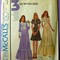 "Retro 1970s Long or Short Puff Sleeve Ruffled Maxi Dress McCall's 4381 Misses' Size 12, 14 Bust 34, 36"" Vintage Sewing Pattern"