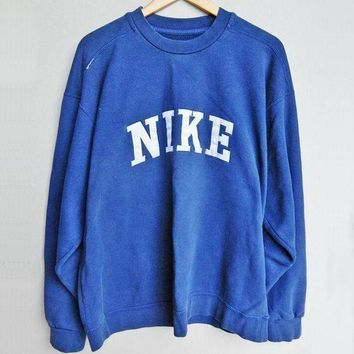 NIKE Fashion Women Loose Long Sleeve Round Collar Sport Top Sweater Pullover Sweatshirt Blue I