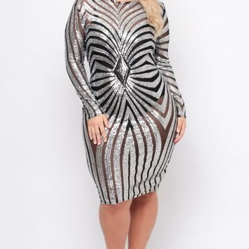 Plus Size Sequins Gatsby Gown - Silver