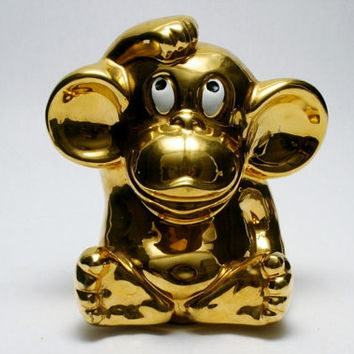 Funky Monkey Italian Gold Luster Pottery Coin Bank from the 1960s Era Signed ITALY Fantastic Condition