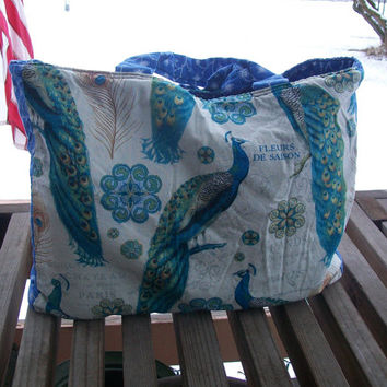 Reusable Grocery Bag French Peacocks Tote Bag Ready To Ship Shopping Tote