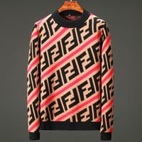 Fendi autumn and winter new round collar men's sweater knitwear foreign trade base