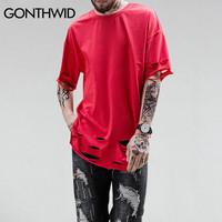 Hipster Ripped Holes T-Shirt Men Hip Hop Curved Hem Extended Long line T Shirts Male Casual Urban Tops Tee