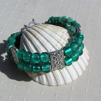 Gemstone Crystal Bracelet - Amazonite & Green Silver-Foil Beaded  - Calypso