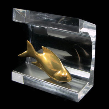 Upstream - Vintage Bronze & Lucite Fish Sculpture by Loet Vanderveen, Signed Numbered Limited Edition 9 / 500, Mid Century Modern Decor
