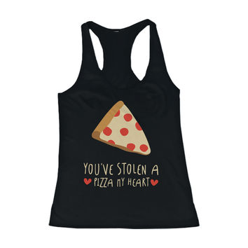 Women's Cute Tanks - Stolen a Pizza My Heart Black Cotton Sleeveless Tank Top