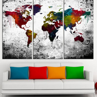 Colorful Splashed Watercolor WORLD MAP Canvas Print 3 Panel - 3 Piece Atlas Canvas Art Print - Black and Red Map - Modern World Map