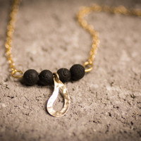 Gold Drop necklace ,Drop  pendant,  Gold Drop charm,lava necklace, lava beads, black lava beads, gold filled necklace,
