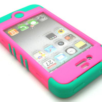 Hybrid Teal Blue Soft Case Pink girly Candy Hard Snap-on Cover iPhone 4 4S Phone