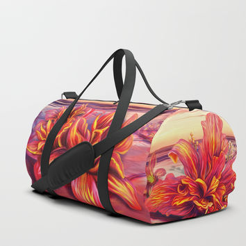 Radioactive flowers Duffle Bag by exobiology