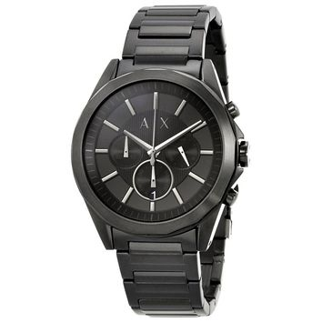 Armani Exchange Black Chronograph Dial Black Stainless Steel Mens Watch AX2601
