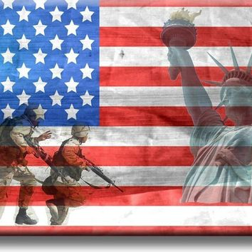 American Freedom, Flag, Soldiers, Liberty Picture on Stretched Canvas, Wall Art Décor, Ready to Hang