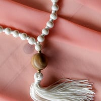 long tassel necklace , handmade necklace , made of manufactured ivory , summer jewelry , gifts , tassel , tassel necklace , necklaces