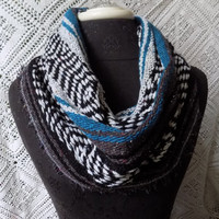 Vibrant Teal Mexican Blanket Small Cowl Scarf- Free Shipping to Continental US