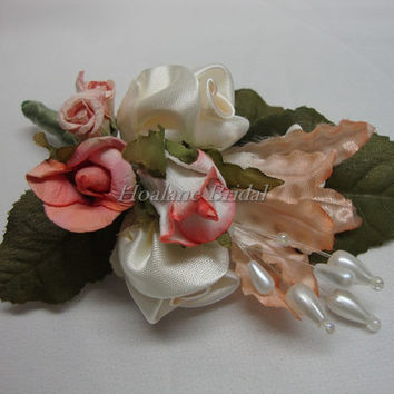 Boutonnieres, 5 fabric/silk flower boutonnieres, Special Occasion Boutonnieres