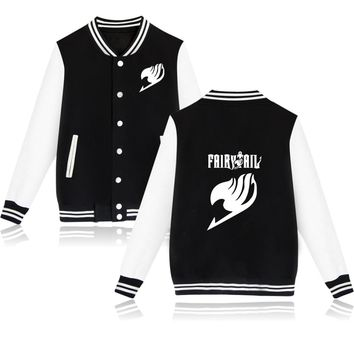 SMZY Fairy Tail Baseball Jacket Capless Mens Hoodies And Sweatshirts Fashion Hoodies Boys Winter Classic Anime Jacket Clothes