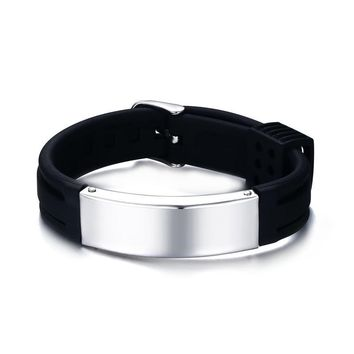 Stainless steel ID Sports Cuff Bracelet. Silicone Bracelet Medical Alert ID Tag. Free Engraving