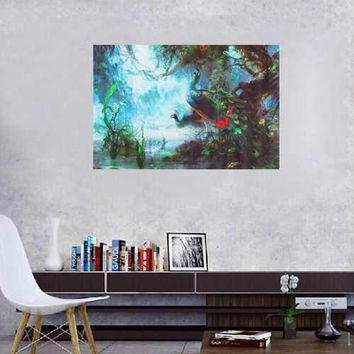 Peacock Canvas Painting Frameless