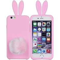 iPhone 6 Plus Case,Cute Lovely Long Ear Design Rabbit with Furry Tail Silicone Bunny Case Cover for Apple iPhone 6 Plus 5.5 inch (Pink)