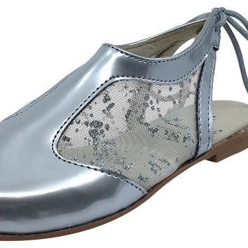Luccini Girl's Silver Leather and Mesh Sling Back Mule Dress Shoes