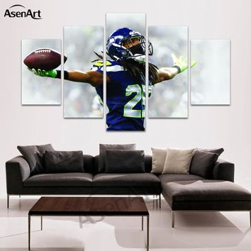 5 Pieces Canvas Art American Football Player Painting for Living Room Home Decoration Wall Pictures Canvas Prints Unframed