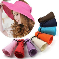 Fashion Sun Summer Hats for Women Lady Foldable Roll Up Sun Beach Wide Brim Straw Visor Hat Cap With Multi-Color chapeu feminino