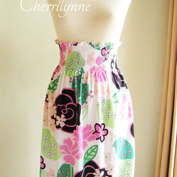 Skirt Smocked High Waisted  Floral Pattern by Cherrilynne on Etsy