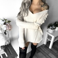 L/XL LEFT - Kelsey Lace Up Sleeve Sweater (IVORY)