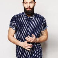 ASOS Viscose Shirt In Short Sleeve With Polka Dots