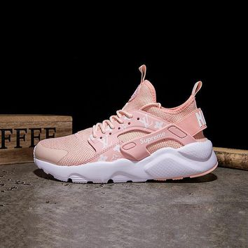 Sale LV x Supreme x Nike Air Huarache Custom Light Pink White Sport Running Shoes