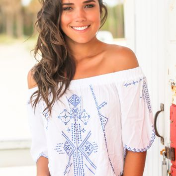 Off White Off Shoulder Top with Blue Embroidery