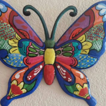 Metal wall decor, wall hanging, butterfly, hand painted, home decor, talavera look a like, gift, wall decoration, patio decor, wall art