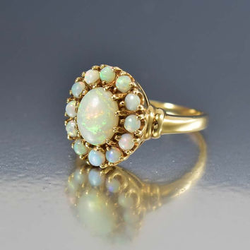 Antique Gold Australian Opal Engagement Ring
