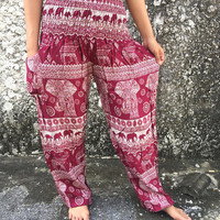 Yoga pants Elephant Printed Hippie Harem Pants festival Boho Hippies Styles Clothing Clothes Tribal Beach Spring Summer For Women men in Red