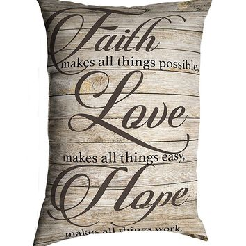 "Stratford Home 14""x20"" Decorative Religious Quotes & Sayings Lumbar Pillows, (Faith Love Hope)"