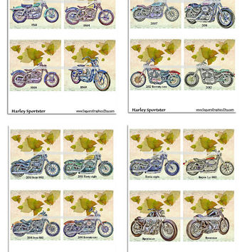 Harley Sportster Motorcycles Altered Art - Coasters Artwork, 4.0 inch Squares, Arts and Craft Projects